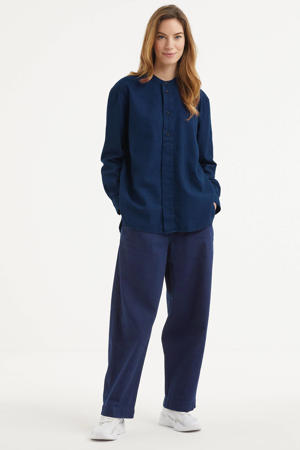 geweven blouse TAKATA van biologisch katoen dark indigo