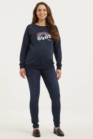 zwangerschapssweater met printopdruk donkerblauw