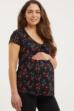 gebloemde zwangerschaps- en voedingstop zwart/rood/groen
