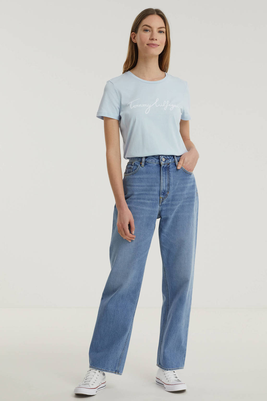 Kings of Indigo high waist straight fit jeans ALICE van biologisch katoen 5037 vintage light blue, 5037 VINTAGE LIGHT BLUE