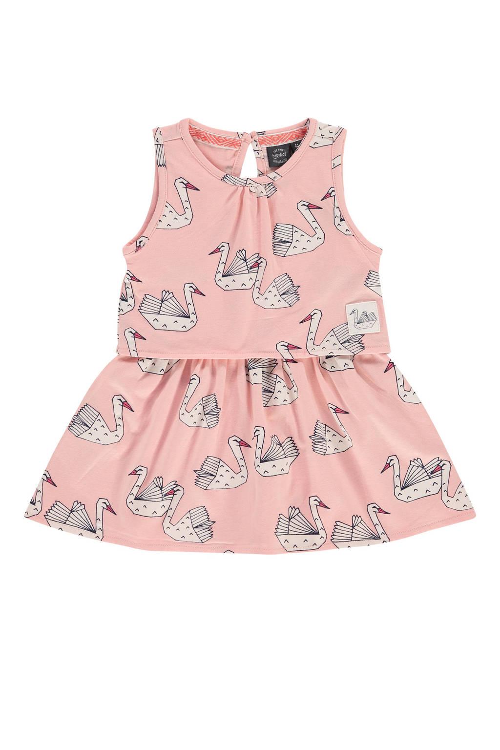 Babyface jurk met dierenprint en plooien lichtroze/zwart/wit, Lichtroze/zwart/wit
