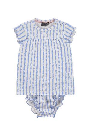 newborn baby jurk met broekje lavendelblauw/wit