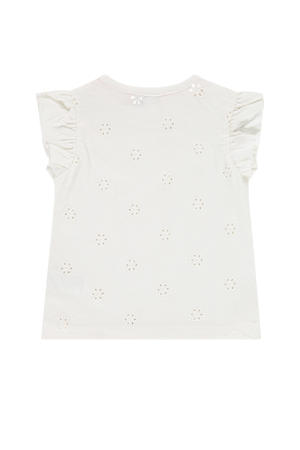 T-shirt met ruches ecru