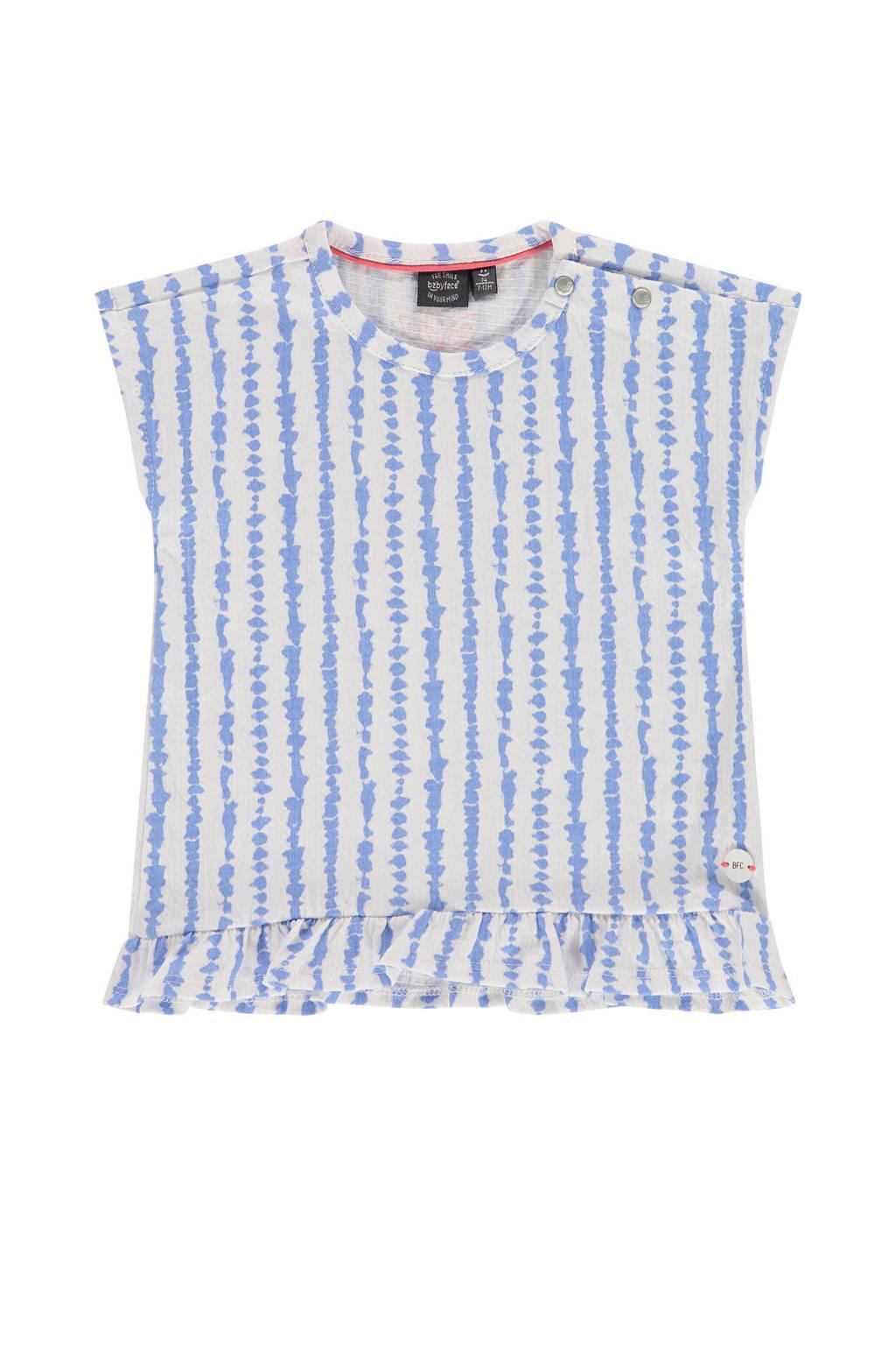 Babyface gestreept T-shirt lavendelblauw/wit, Lavendelblauw/wit