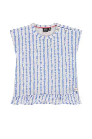 gestreept T-shirt lavendelblauw/wit