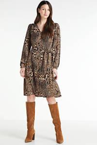 VERO MODA jurk Lena met panterprint en ceintuur zwart/bruin, Zwart/bruin