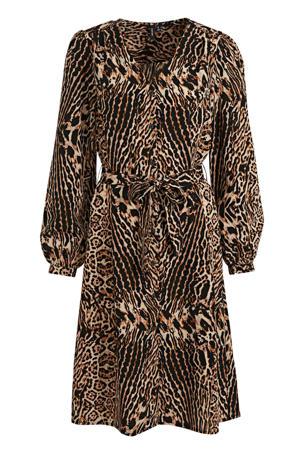 jurk Lena met panterprint en ceintuur zwart/bruin