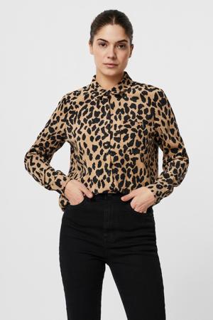 blouse met all over print zand/zwart