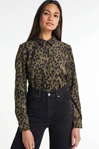 VERO MODA corduroy blouse Sally met panterprint groen/zwart, Groen/zwart