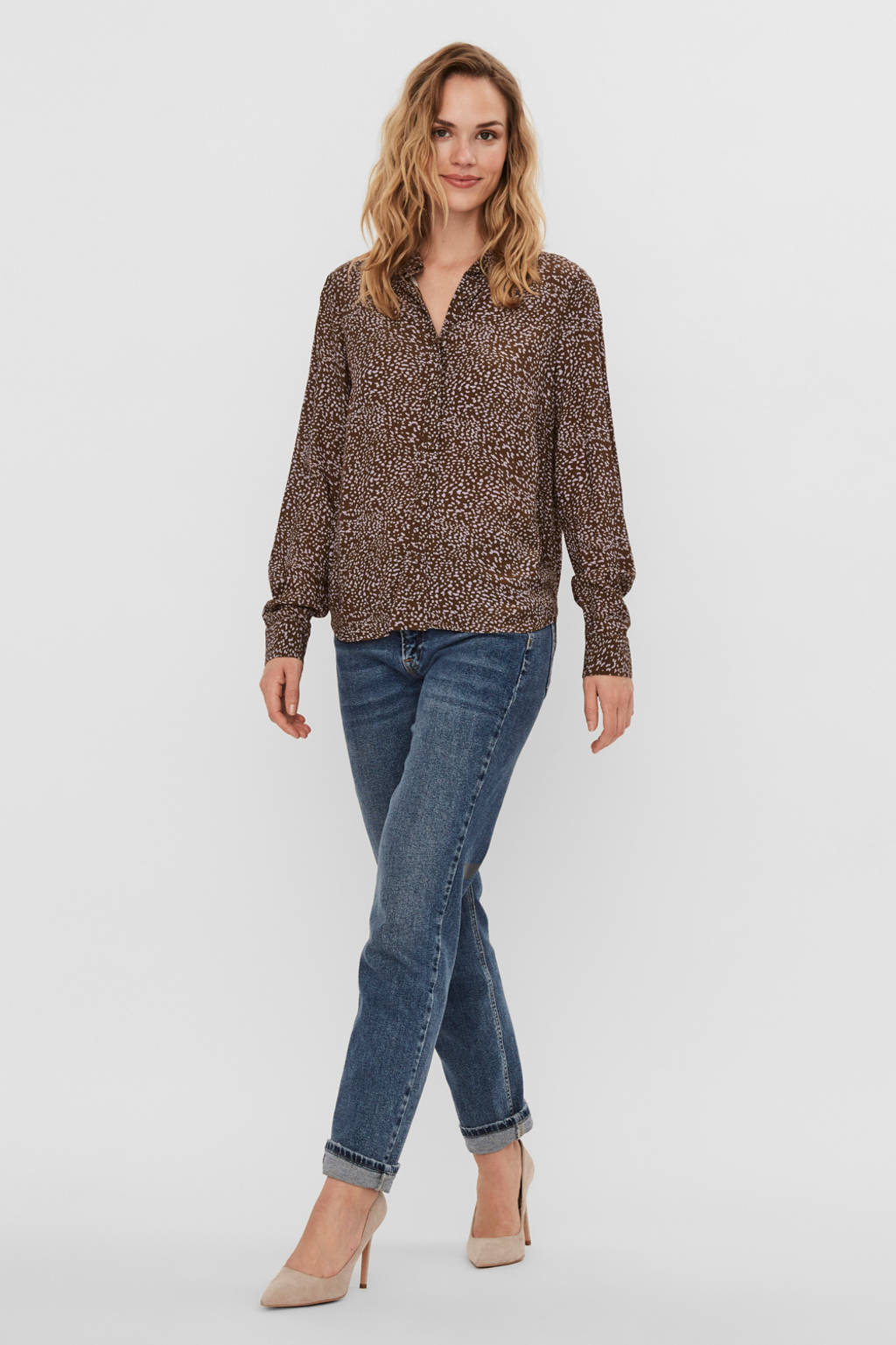 VERO MODA blouse Cammo met all over print bruin/wit, Bruin/wit