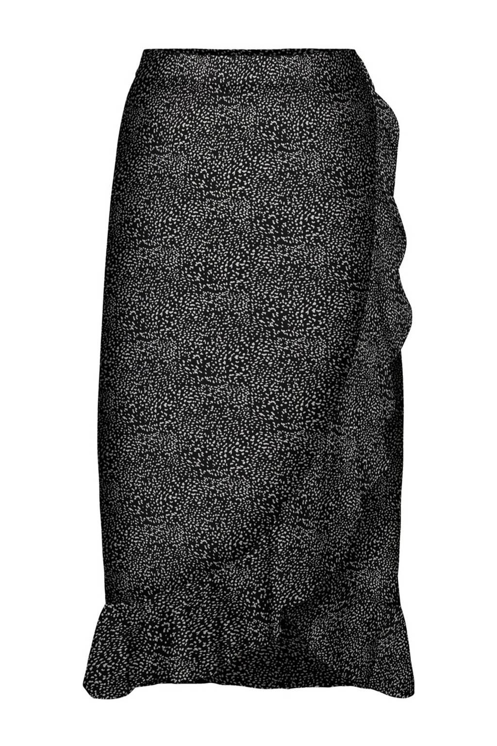 VERO MODA rok met all over print en volant zwart/wit, Zwart/wit