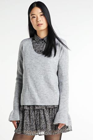gebreide trui Simone van gerecycled polyester grijs melee