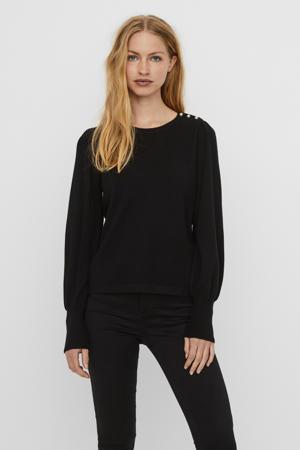 semi-transparante trui Happiness zwart