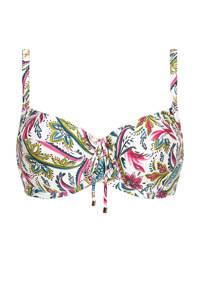 Cyell beugel bikinitop met paisleyprint wit/groen/roze, Wit/groen/roze/zwart