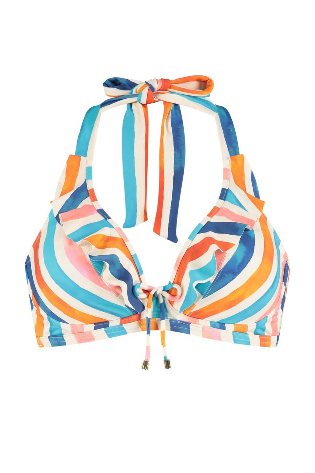Cyell gestreepte beugel bikinitop ivoor/blauw/roze, Ivoor/blauw/roze/oranje