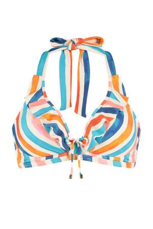 gestreepte beugel bikinitop ivoor/blauw/roze