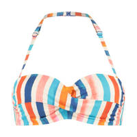 Cyell gestreepte strapless bandeau bikinitop ivoor/blauw/roze, Ivoor/blauw/roze/oranje