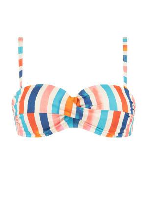 gestreepte strapless bandeau bikinitop ivoor/blauw/roze
