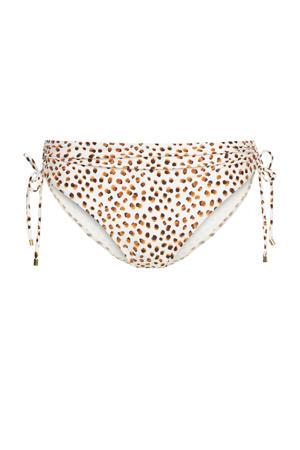 bikinibroekje met dierenprint wit/bruin