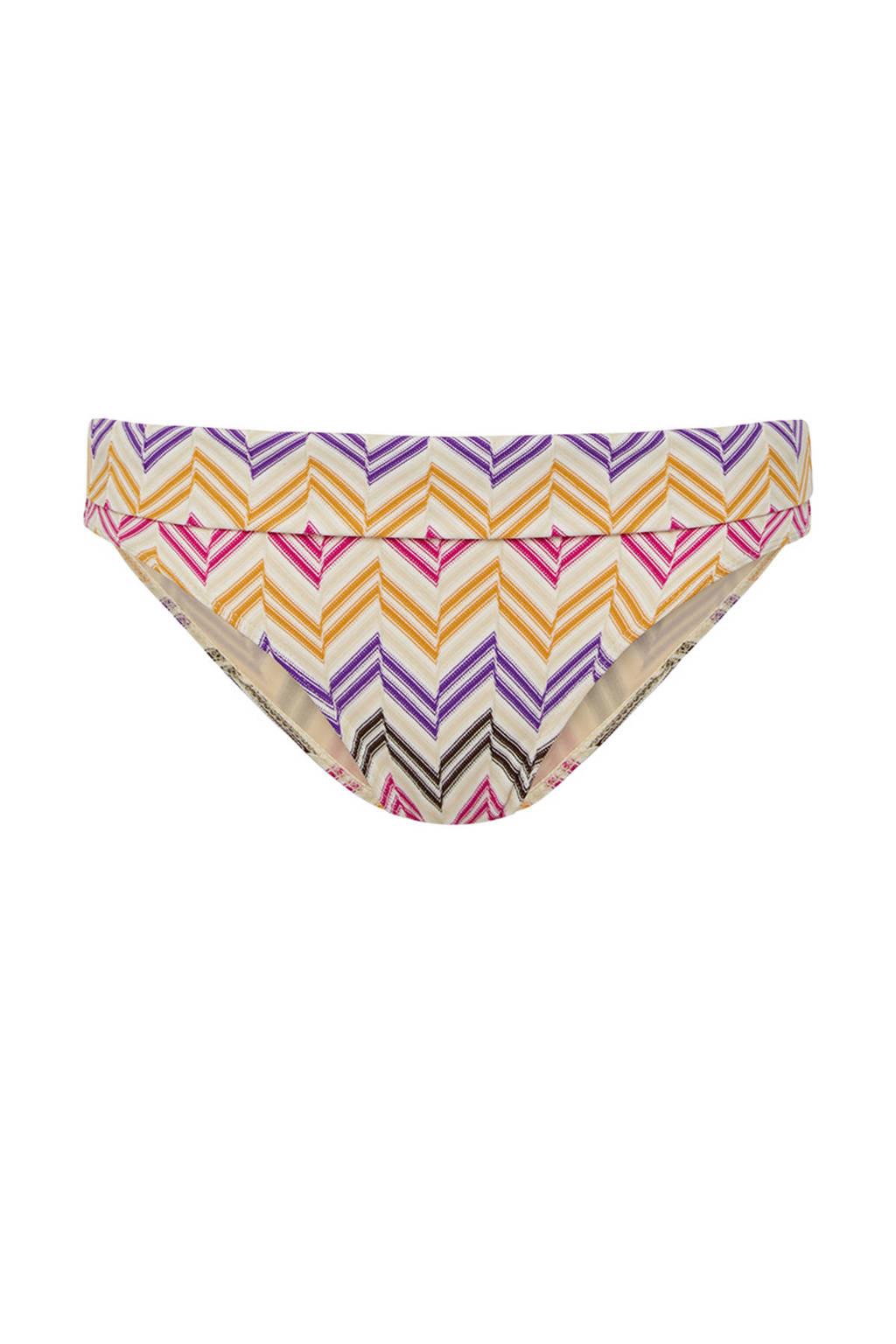 Cyell bikinibroekje met all print ivoor/bruin/paars, Ivoor/bruin/paars/geel