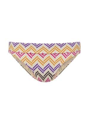 bikinibroekje met all print ivoor/bruin/paars