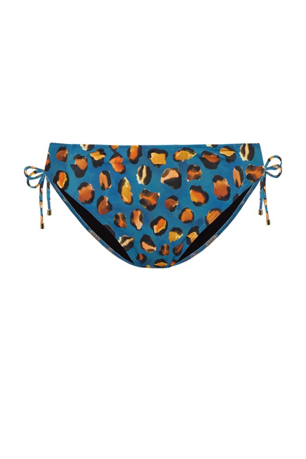 Cyell strik bikinibroekje met panterprint blauw/oranje, Blauw/oranje/geel/zwart