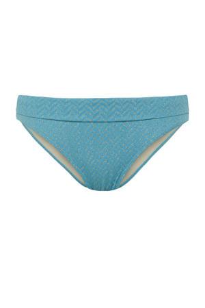 bikinibroekje met textuur blauw/goud
