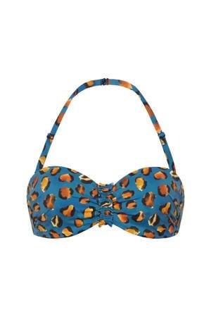 strapless bandeau bikinitop met panterprint blauw/oranje
