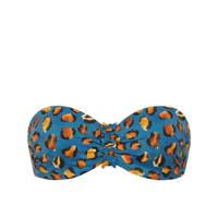 Cyell strapless bandeau bikinitop met panterprint blauw/oranje, Blauw/oranje/geel/zwart