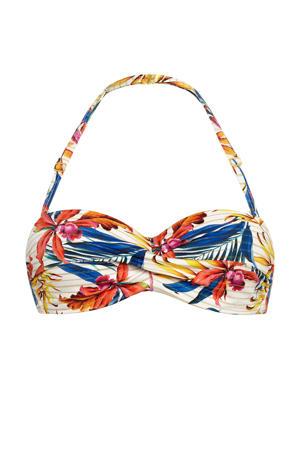 gebloemde strapless bandeau bikinitop ivoor/blauw/geel