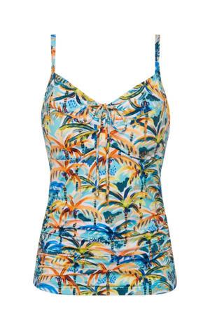tankini bikinitop met all over print blauw/geel/oranje
