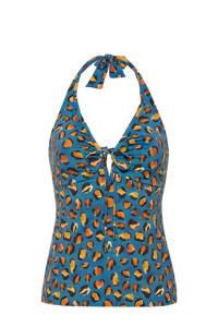 Cyell tanini bikinitop met panterprint blauw/oranje, Blauw/oranje/geel/zwart