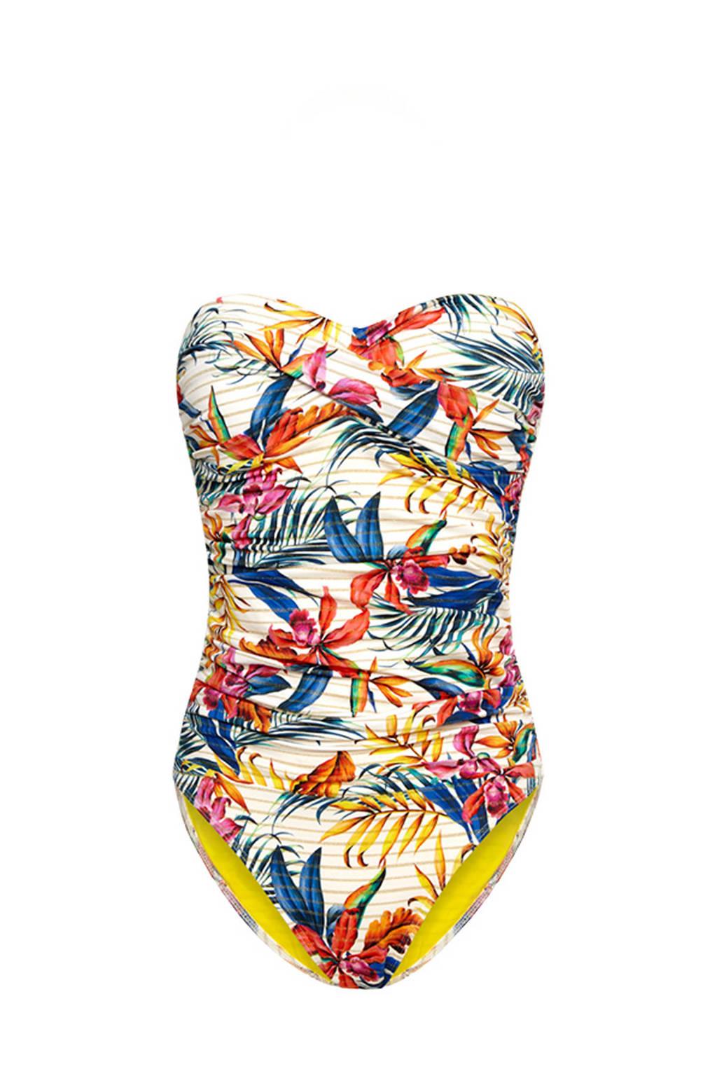 Cyell gebloemd strapless badpak ivoor/blauw/geel, Ivoor/blauw/geel/roze/groen/oranje/goud