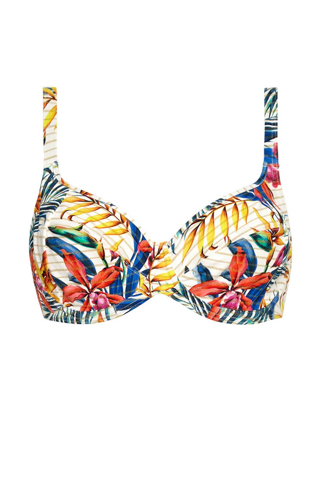 Cyell gebloemde beugel bikinitop ivoor/blauw/geel, Ivoor/blauw/geel/roze/groen/oranje/goud