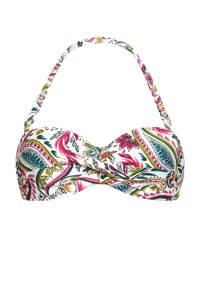 Cyell strapless bandeau bikinitop met paisleyprint wit/groen/roze, Wit/groen/roze/zwart