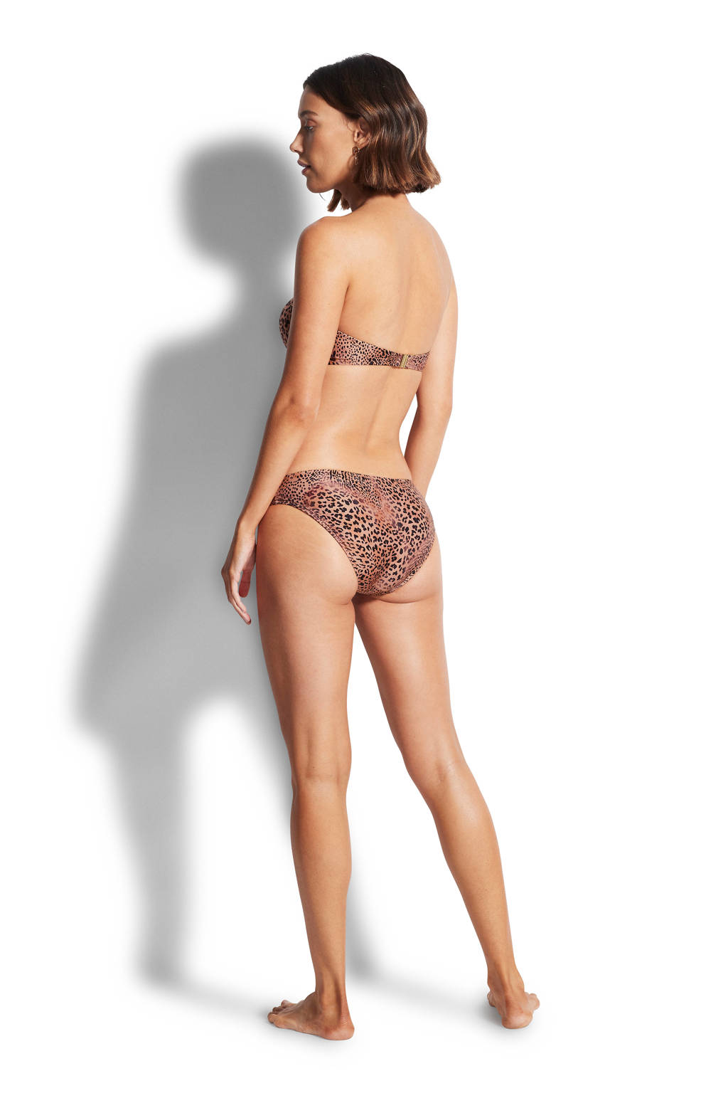 Seafolly bikinibroekje met panterprint bruin/zwart, Bruin/zwart
