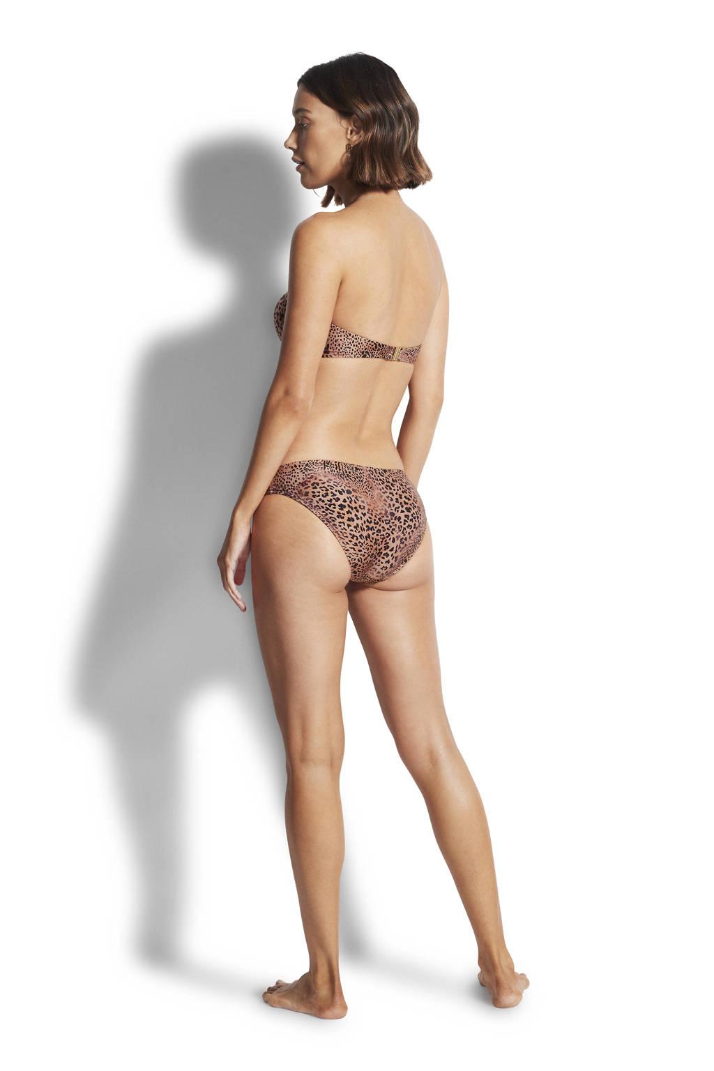 Seafolly bandeau bikinitop met panterprint bruin/zwart, Bruin/zwart