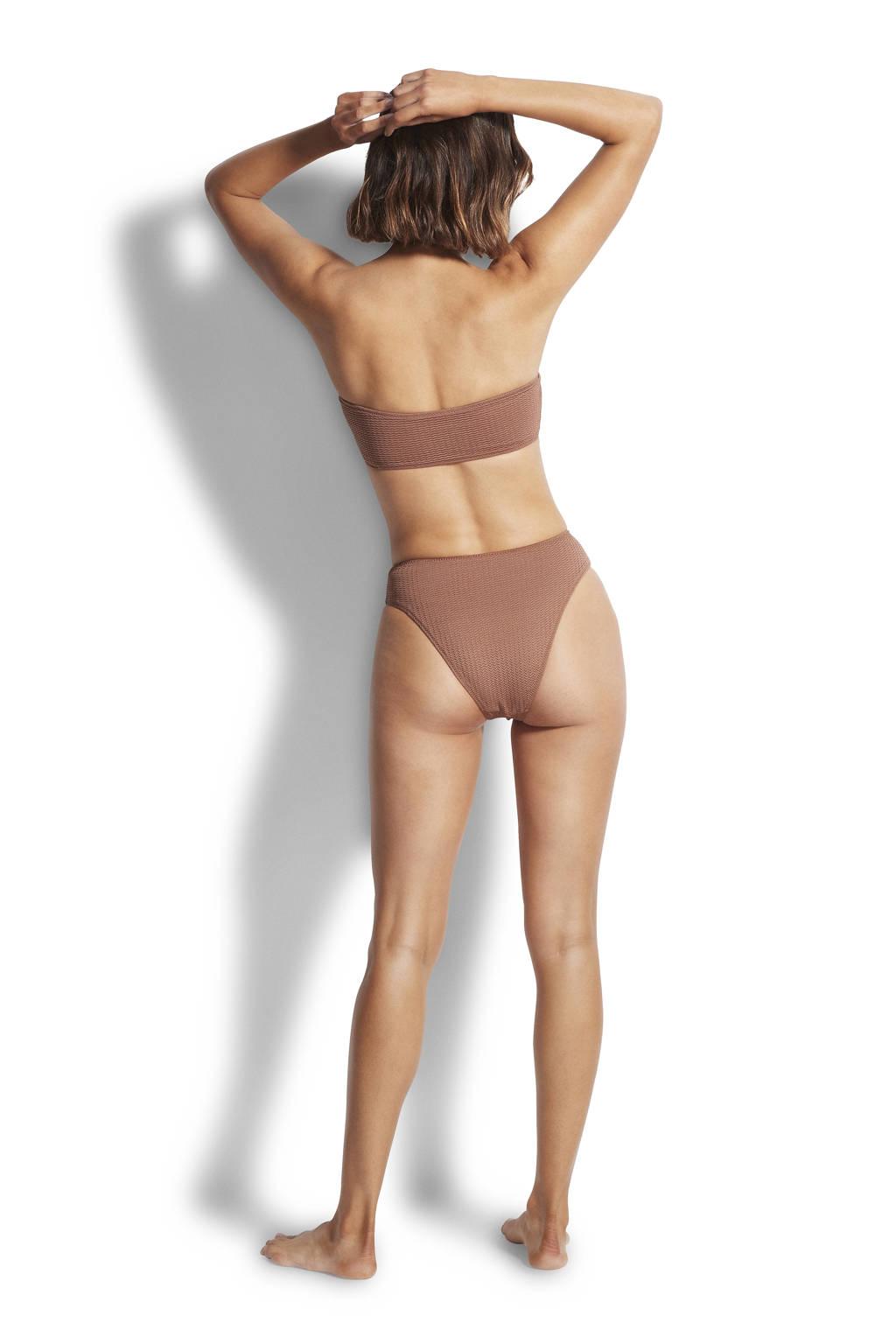 Seafolly strapless bandeau bikinitop met ribstructuur bruin, Bruin