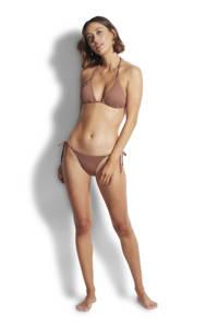Seafolly triangel bikinitop met ribstructuur bruin, Bruin