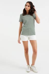 WE Fashion gestreept T-shirt donkergroen/wit, Donkergroen/wit