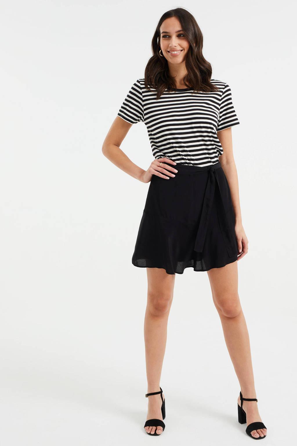 WE Fashion gestreept T-shirt zwart/wit, Zwart/wit