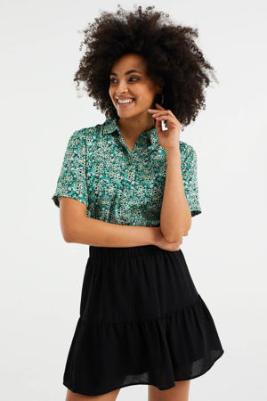 blouse met all over print groen