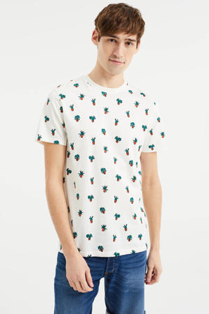 T-shirt met all over print ecru