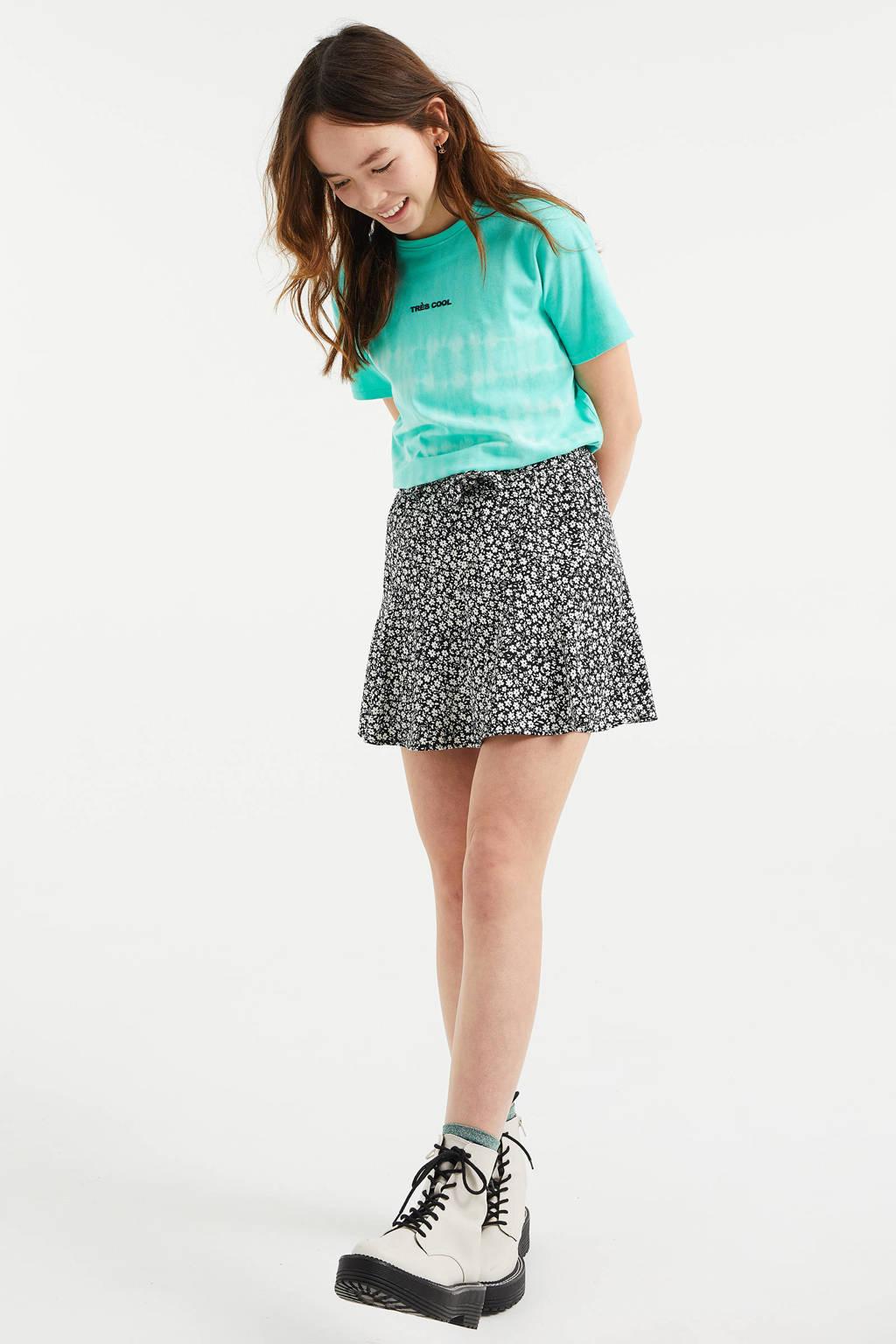 WE Fashion tie-dye T-shirt mintgroen/wit, Mintgroen/wit