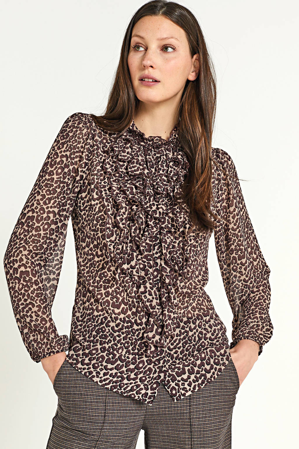 Saint Tropez semi-transparante blouse Lilly met panterprint en ruches taupe/bruin, Taupe/bruin