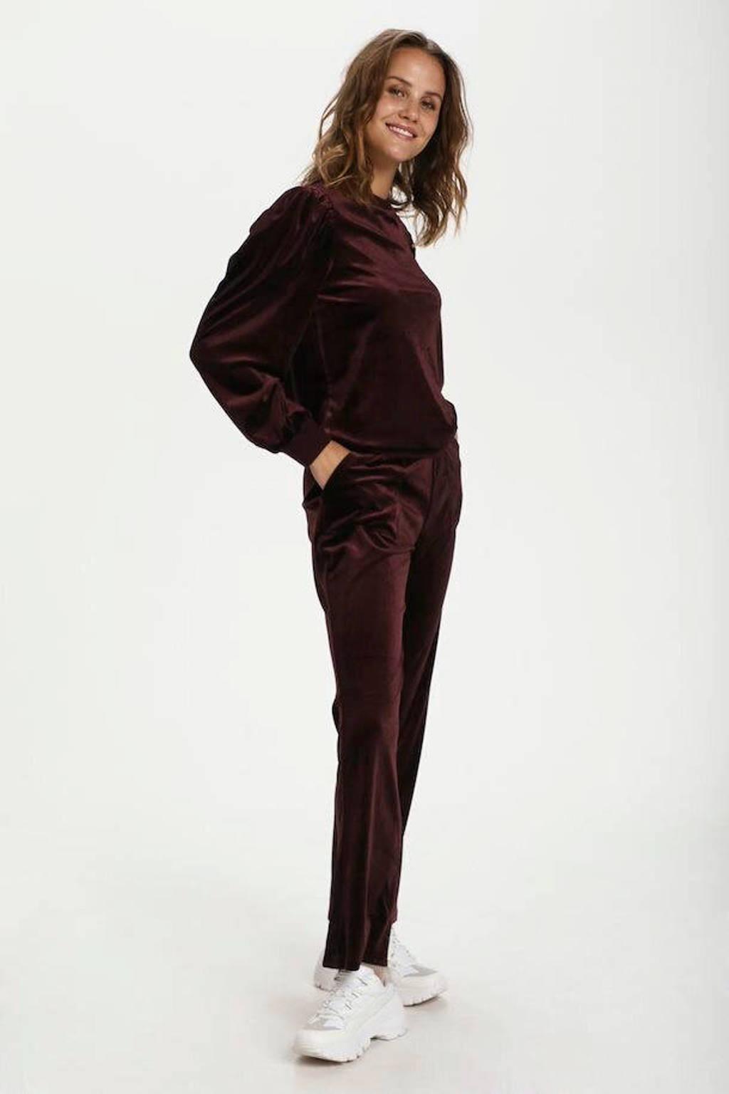 Saint Tropez fluwelen trui Callie met plooien roodbruin, Roodbruin