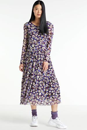 gebloemde semi-transparante jurk Paprika van gerecycled polyester blauw/ paars