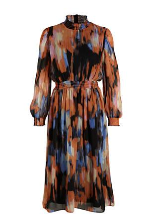 semi-transparante jurk Gala van gerecycled polyester camel/ blauw