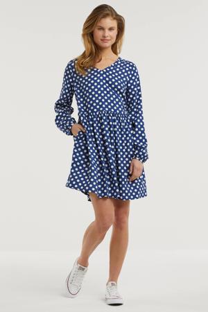jurk met stippen donkerblauw/ecru