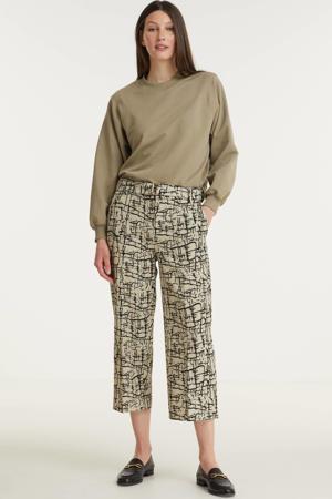 loose fit broek Chiara Cropped Belastaant met all over print beige